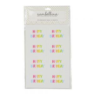 Theme Rainbow Happy Birthday Rectangle Stickers