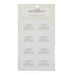 Black Happy Birthday Rectangle Stickers