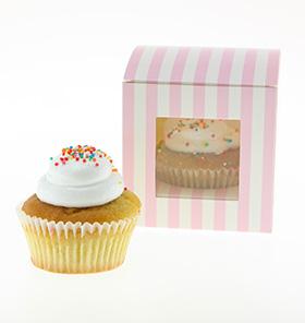Stripe Pink Candy Cupcake Box